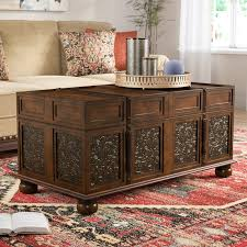 storage trunk coffee table world menagerie andalusia storage coffee table trunk reviews wayfair