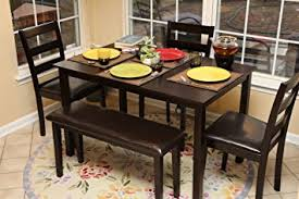Amazoncom Home Life Pc Dining Dinette Table Chairs  Bench Set - Home life furniture