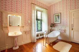 meticulous french country bathroom with wallpaper decor and meticulous french country bathroom with wallpaper decor and illuminated mirror idea
