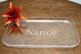 monogrammed serving tray personalized clear acrylic rectangle tray