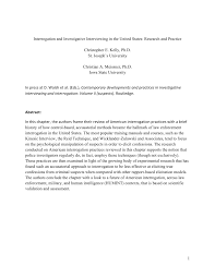 interrogation and investigative interviewing in the united states