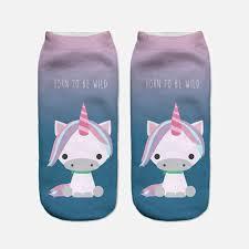 2017 harajuku 3d print unicorn socks women kawaii ankle licorne