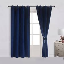 royal blue bedroom curtains amazon com cherry home set of 2 velvet flannel blackout curtains