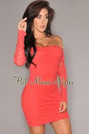 coral lace off the shoulder long sleeves dress