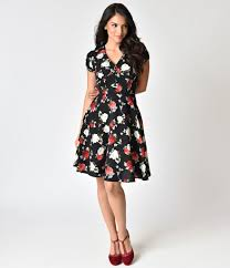1940s dresses hell bunny 1940s style black floral crepe valentina swing dress