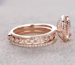 2 wedding bands limited time sale 2 carat morganite diamond trio wedding bridal