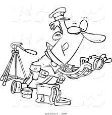 vector of a cartoon cop taking photos coloring page outline by