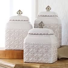 ceramic canisters for the kitchen ideas fleur de lis kitchen canisters in white for kitchen