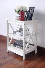 bedside table amazon amazon com white finish wooden x design chair side end table with 3