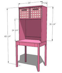 ana white cubby desk and hutch diy projects