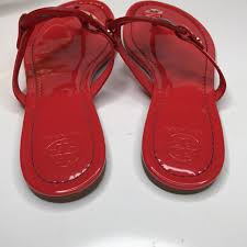 tory burch red raimbow patent miller logo flat vermillion sandals