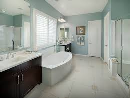 Modern Window Casing by Bathroom Baseboard Soaking Tub Chrome Hardware Ledge Dark Wood