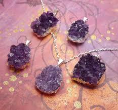 amethyst necklace silver images Amethyst druzy necklace with chain raw amethyst gemstone jpg