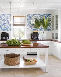Wallpaper Backsplash Kitchen Blue Palm Leaf Wallpaper Gives This Bahamas Kitchen A Touch Of