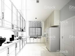 abstract sketch design of interior kitchen stock photo 626011902
