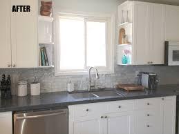 decorating light grey subway tile kitchen with grey backsplash