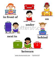 preposition motion preschool worksheet education english stock