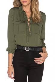 criss cross blouse lapel crisscross tie front sleeve plain blouse