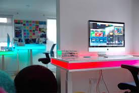 led bureau adjustable office desk with led lights