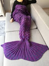 home decor fish scale crochet knit mermaid blanket throw purple