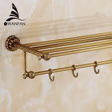 bathroom shelves antique brass wall shelf towel rack bath holder