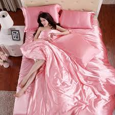 what is the best material for bed sheets 100 pure satin silk bedding set home textile plain coloured silky