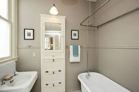 Built In Bathroom Cabinets Cottage Bathroom With Chair Rail Flush Light In San
