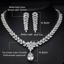white necklace fashion jewelry images Cwwzircons luxury bridal costume jewelry big teardrop zirconia jpg