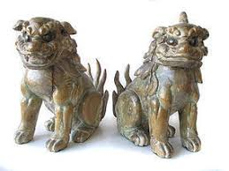 fu dogs japanese pair of edo period wooden shrine guardian fu dogs item