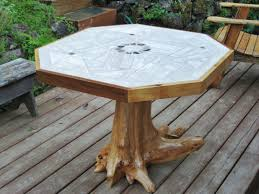 Patio Tile Table Mosaic Tile Patio Table With Tree Stump Pedestal Daric Moore