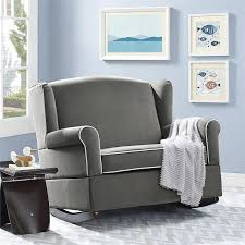Gray Rocking Chair For Nursery Baby Relax Lainey Wingback Wide Nursery Rocker