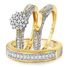 Wedding Ring Trio Sets by 1 Carat Diamond Trio Wedding Ring Set 14k Yellow Gold