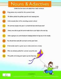 adjectives and nouns worksheet summer grammar nouns and adjectives worksheets education