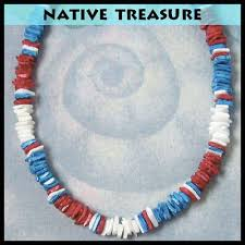 blue shell necklace images Red white blue chip puka shell necklace beach kid 39 s 14 quot jewelry jpg