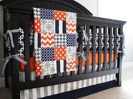 Custom Boy Crib Bedding Navy Blue Orange And Grey Custom Crib Bedding Baby Bedding Baby