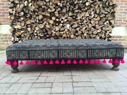 Ottoman Cloth Moroccan Boho Mud Cloth Pink Tassel Ottoman Decor A List