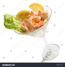 martini shrimp traditional prawn cocktail 1000 island dressing stock photo