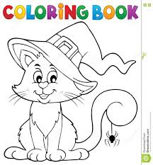 coloring book halloween cat theme 2 stock vector image 75137135