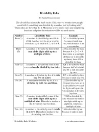divisibility rules printable properties of math worksheets