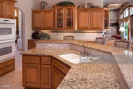 Countertops With Oak Cabinets Custom Luxury Eatin Kitchen With Granite Counters Oak Cabinets