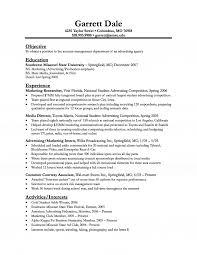 Objective Of Resume For Internship Download Advertising Internship Sample Resume