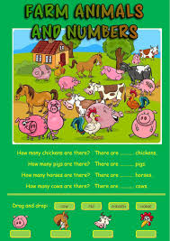 farm animals and numbers interactive worksheet