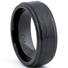 black wedding band black cobalt men s hammered wedding band ring comfort fit 8mm