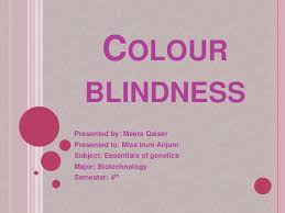 What Causes Red Green Color Blindness Colour Blindness Ppt By Meera Qaiser