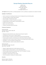 sample contract specialist resume reading specialist resume free resume example and writing download we found 70 images in reading specialist resume gallery