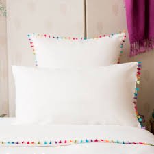 pompom percale bedding pillow cases pillows and bedrooms