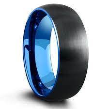 mens tungsten rings images 8mm domed black brushed tungsten ring with blue interior jpg