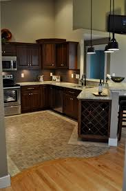 Tile Floor Kitchen Ideas Oak Hardwood Floors With Curved Transition To Mosaic Travertine