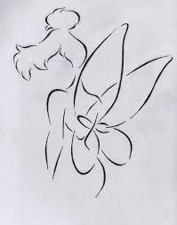 outline tinkerbell with magic stick tattoo design real photo