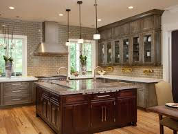 antique grey kitchen cabinets with brick wall design 9779